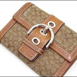 Coach Brown Trifold Small Wallet with Buckle